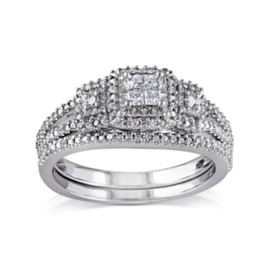 jcpenney.com | 1/4 CT. T.W. Diamond Sterling Silver 3-Stone Bridal Ring Set