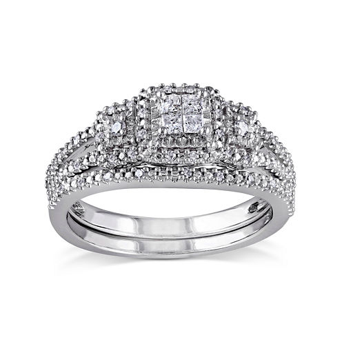 1/4 CT. T.W. Diamond Sterling Silver 3-Stone Bridal Ring Set