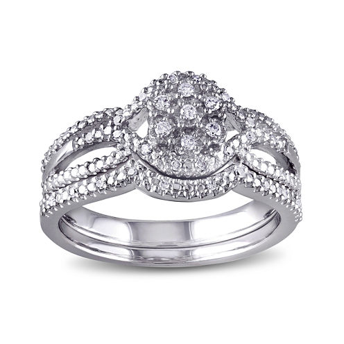 1/7 CT. T.W. Diamond Sterling Silver Bridal Ring Set