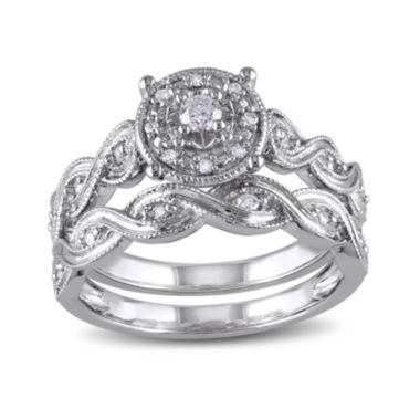 jcpenney.com | 1/5 CT. T.W. Diamond Sterling Silver Bridal Ring Set