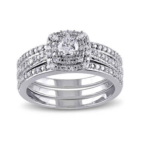 1/2 CT. T.W. Diamond Sterling Silver Bridal Ring Set