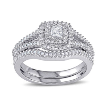 jcpenney.com | 1/2 CT. T.W. Diamond Sterling Silver Bridal Ring Set