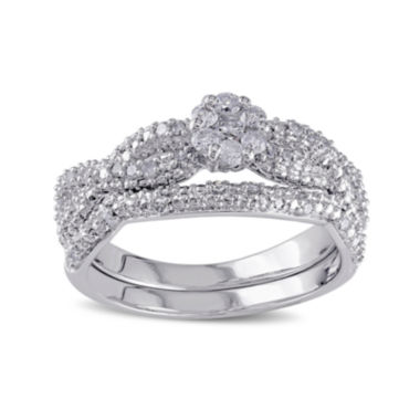 jcpenney.com | 3/8 CT. T.W. Diamond Sterling Silver Bridal Ring Set