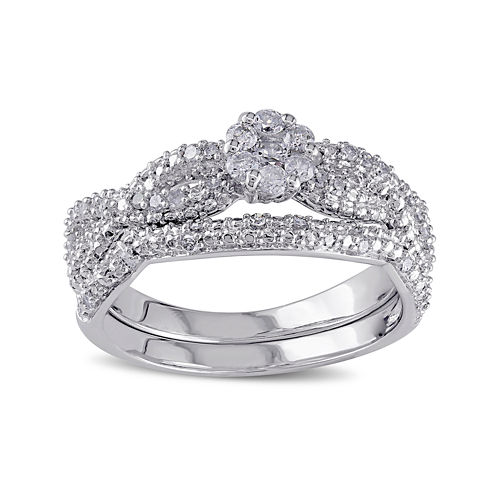 3/8 CT. T.W. Diamond Sterling Silver Bridal Ring Set