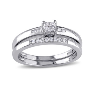 jcpenney.com | 1/6 CT. T.W. Diamond Sterling Silver Bridal Ring Set