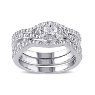 jcpenney.com | ½ CT. T.W. Diamond Sterling Silver Bridal Ring Set