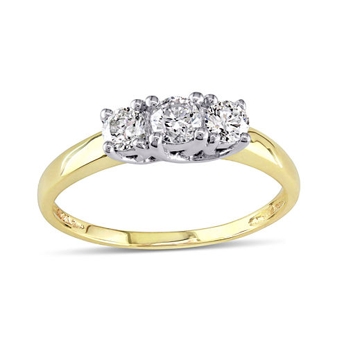 1/2 CT. T.W. Diamond 10K Yellow Gold Three-Stone Engagement Ring