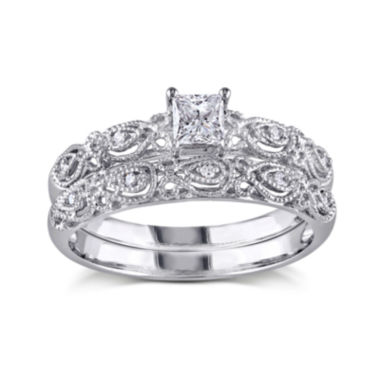 jcpenney.com | 1/3 CT. T.W. Diamond 10K White Gold Bridal Ring Set