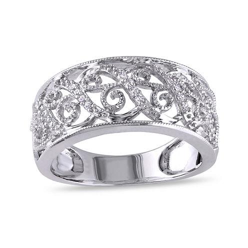 Diamond Accent 10K White Gold Wedding Band