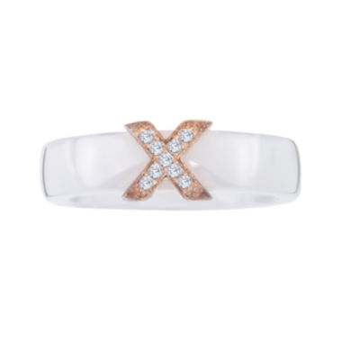 jcpenney.com | Diamond-Accent Sterling Silver and White Ceramic  Wedding Band