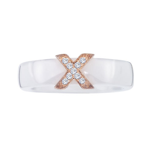 Diamond-Accent Sterling Silver and White Ceramic  Wedding Band