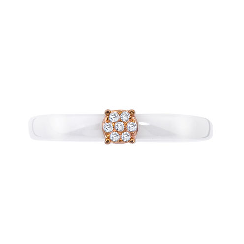 Diamond-Accent White Ceramic and Rose Gold Over Sterling Silver Promise Ring