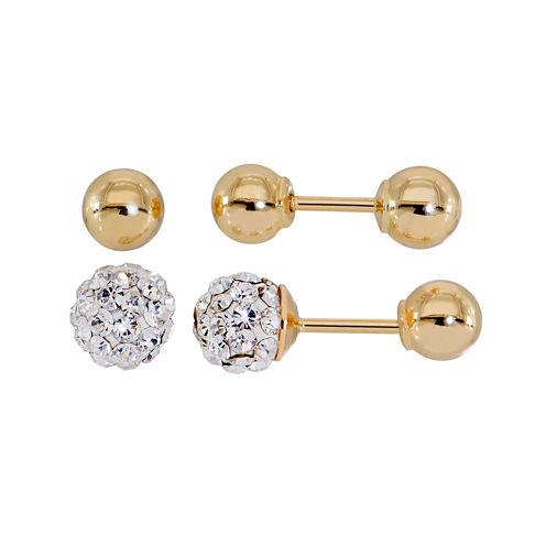 Infinite Gold™ Kids Crystal 14K Yellow Gold 2-pr. Ball Stud Earring Set