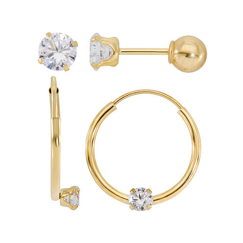 Infinite Gold™ Kids Cubic Zirconia 14K Yellow Gold 2-pr. Earring Set