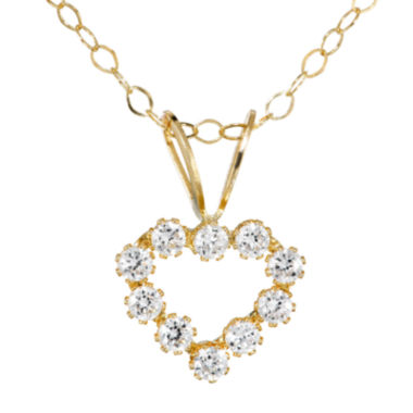 jcpenney.com | Infinite Gold™ Kids Cubic Zirconia 14K Yellow Gold Heart Pendant Necklace