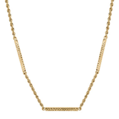 jcpenney.com | Infinite Gold™ 14K Yellow Gold Diamond-Cut Hollow Rope Station Necklace