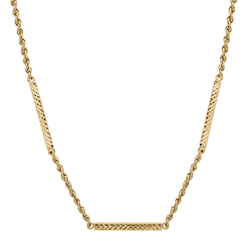 Infinite Gold™ 14K Yellow Gold Diamond-Cut Hollow Rope Station Necklace