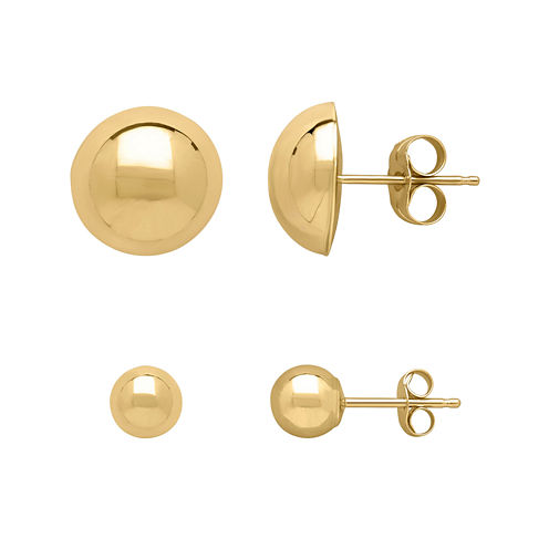 Infinite Gold™ 14K Yellow Gold Ball and Dome 2-pr. Stud Earring Set