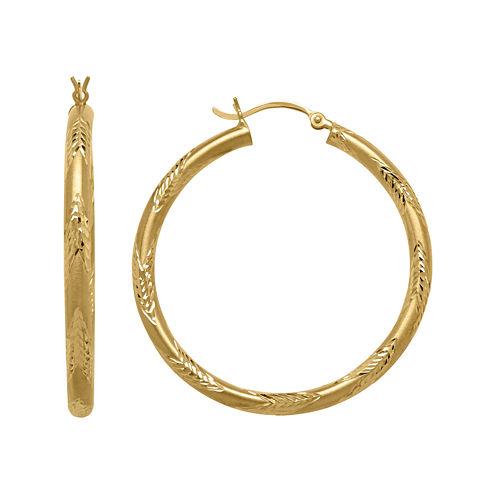 14K Yellow Gold Engraved Chevron Hoop Earrings