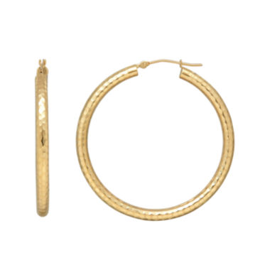 jcpenney.com | 14K Yellow Gold Hammered Round Hoop Earrings