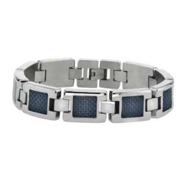 jcpenney.com | Mens Stainless Steel with Carbon Fiber Chain Bracelet