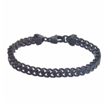 jcpenney.com | Mens Black IP Stainless Steel Square Wheat Link Bracelet