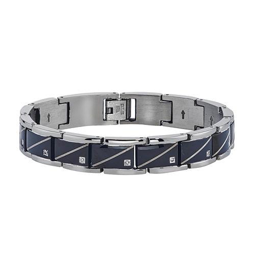 Mens Diamond Accent Black Stainless Steel Chain Bracelet
