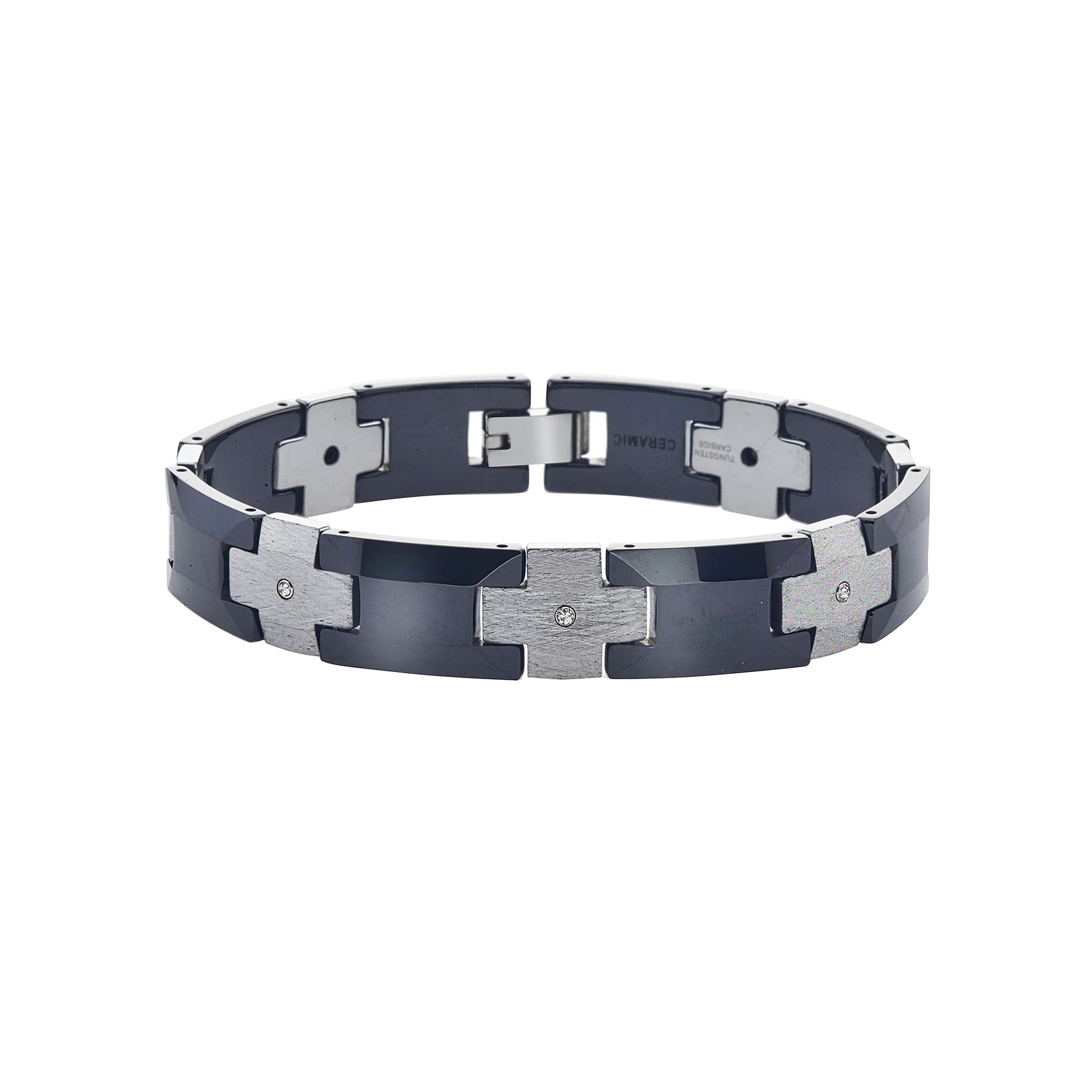 Mens 1/7 CT T.W. Diamond Tungsten and Ceramic Chain Bracelet