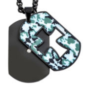 Mens Diamond Accent Camouflage Cross Stainless Steel Dog Tag Pendant Necklace
