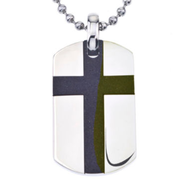 jcpenney.com | Two-Tone Stainless Steel Cross Dog Tag Pendant
