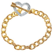 1/10 CT. T.W. Diamond 14K Yellow Gold Over Brass Heart Bracelet