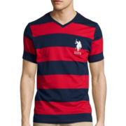 U.S. Polo Assn.® Short-Sleeve Rugby-Stripe V-Neck Tee