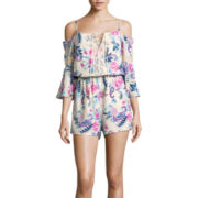 Ransom GirlTM Sunset & 6th Elbow-Sleeve Cold-Shoulder Romper