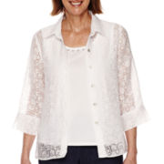 Alfred Dunner® All Aboard 3/4-Sleeve Anchor Burnout Layered Blouse - Petite