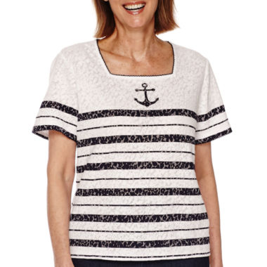 jcpenney.com | Alfred Dunner® All Aboard Short-Sleeve Anchor Stripe Tee - Petite