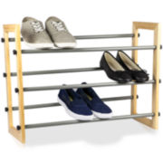 Sunbeam® 3-Tier Expandable Wood-Paneled Shoe Rack