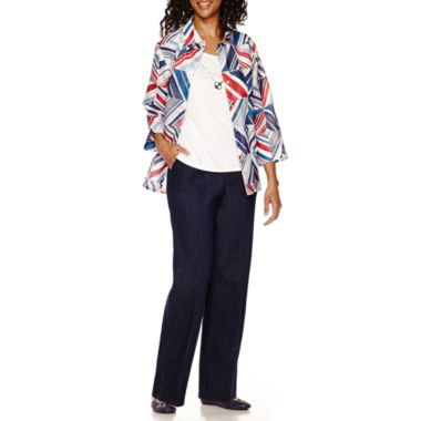 jcpenney.com | Alfred Dunner® All Aboard 3/4-Sleeve Layered Top or Pants