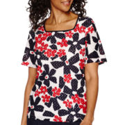 Alfred Dunner® All Aboard Short-Sleeve Daisy-Print Top