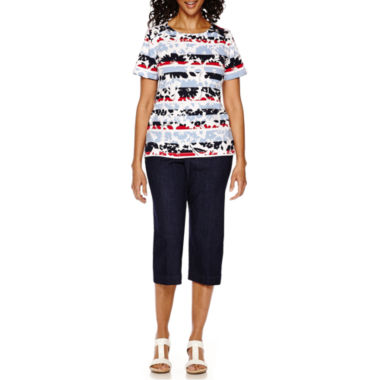 jcpenney.com | Alfred Dunner® All Aboard Short-Sleeve Flower Print Top or Capri Pants
