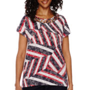 Alfred Dunner® All Aboard Cap-Sleeve Burnout Print Top