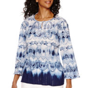 Alfred Dunner® All Aboard 3/4-Sleeve Watercolor Tunic Shirt
