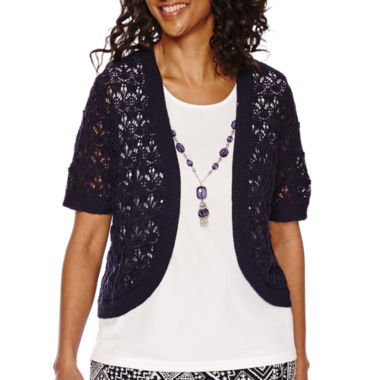 jcpenney.com | Alfred Dunner® Short-Sleeve Layered Top With Necklace
