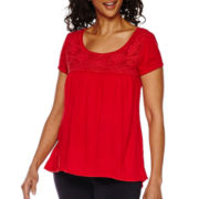 Sag Harbor® The Mariner Short-Sleeve Crochet-Trim Top