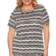 Alfred Dunner® Port Antonio Short-Sleeve Zig-Zag Biadere Top - Plus