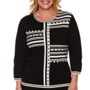Alfred Dunner® Port Antonio 3/4-Sleeve Blocked Stripe Sweater - Plus