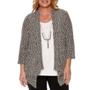 Alfred Dunner® Port Antonio 3/4-Sleeve Popcorn Necklace Sweater - Plus