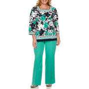 Alfred Dunner® Costa Allegra 3/4-Sleeve Tee or Pull-On Pants - Plus