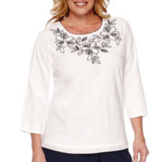 Alfred Dunner® Costa Allegra 3/4-Sleeve Embroidered Tee - Plus