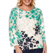 Alfred Dunner® Costa Allegra 3/4-Sleeve Cotton Sweater - Plus