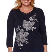 Alfred Dunner® Costa Allegra 3/4-Sleeve Embroidered Asymmetrical Floral Top - Plus